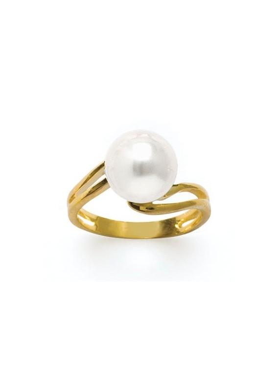 Bague plaqué or et perle eau douce