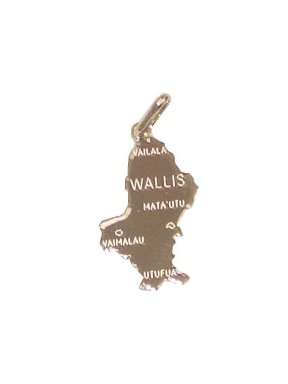 Pendentif plaqué or carte wallis