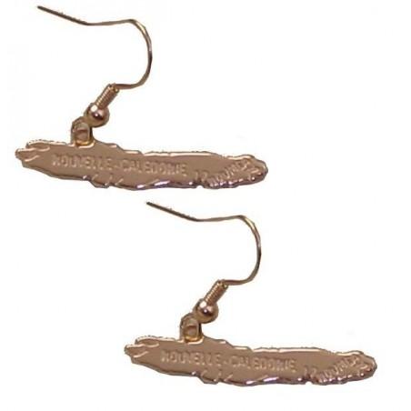 Boucle d'oreille plaqué or carte de nouvelle calédonie