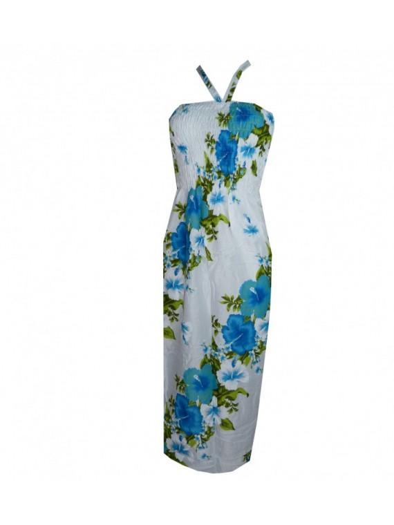 Robe d'été blanche frise hibiscus