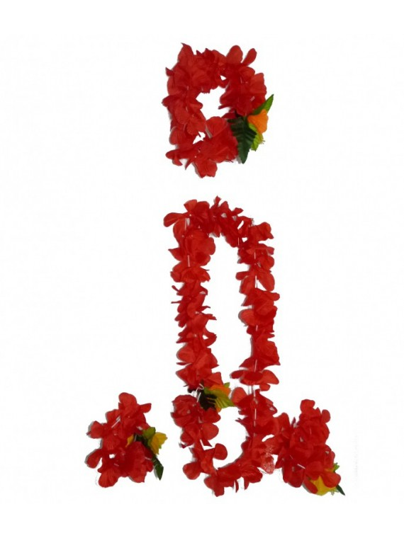 Set colliers de fleurs luxe rouge