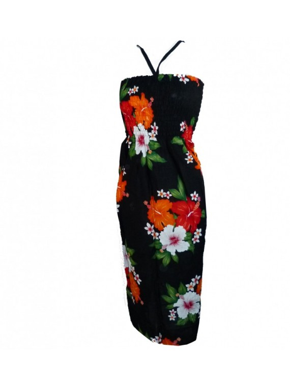 Robe d'été noire double hibiscus
