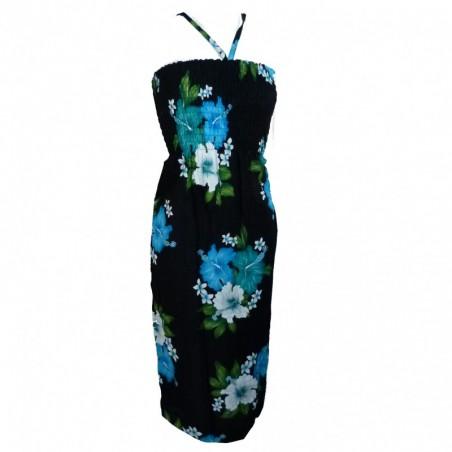 Robe noire double hibiscus turquoise