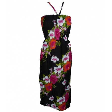 Robe d'été noire diagonal hibiscus
