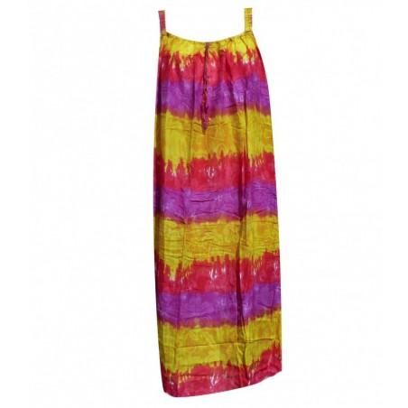 Robe grande taille pochoir violet jaune rouge