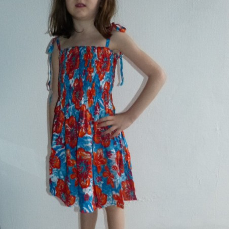 robe enfant bleu et orange jungle