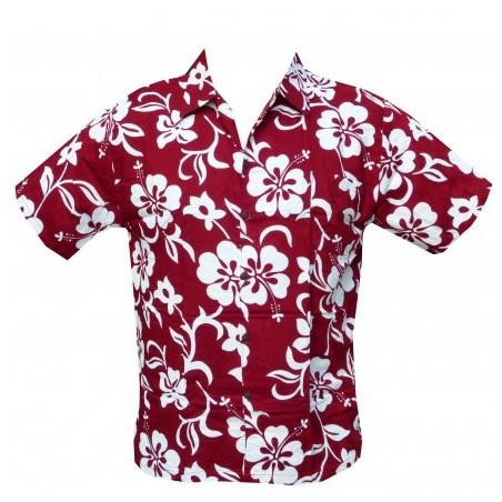 Chemise hibiscus enfant bordeaux classique