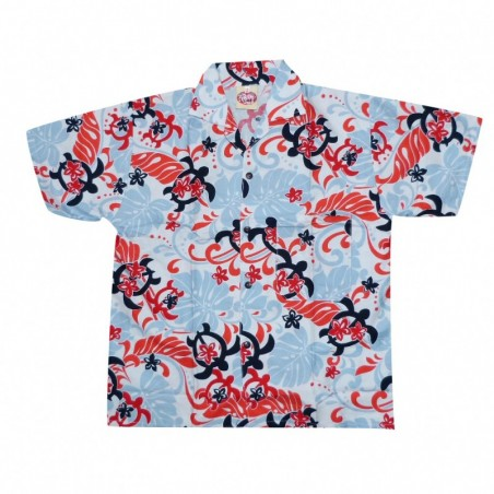 Chemise hawaïenne enfant tortue bleu ciel rouge