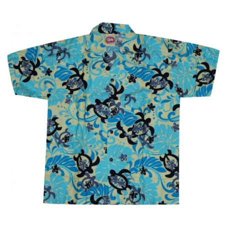 Chemise hawaïenne enfant turquoise tortue