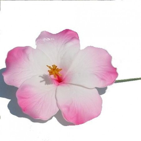 Hibiscus sur tige métal rose et blanc