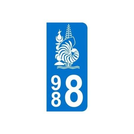 Autocollant Plaque d'immatriculation Nouvelle Calédonie