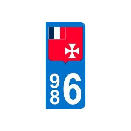 Autocollant Plaque d immatriculation drapeau Wallis