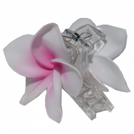 Pinces à cheveux croco frangipane rose et blanc