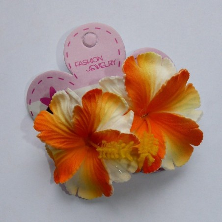 Mini barrette à cheveux hibiscus marbré orange