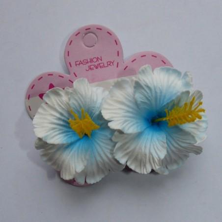 Mini barrette à cheveux hibiscus blanc et bleu
