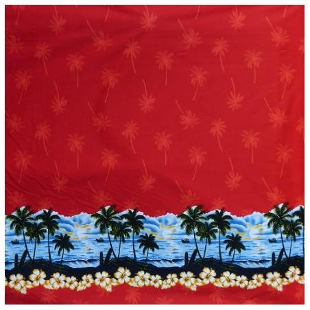 Tissu rouge plage coton PALM BEACH