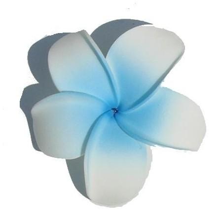 Barrette à cheveux frangipane blanche et bleu