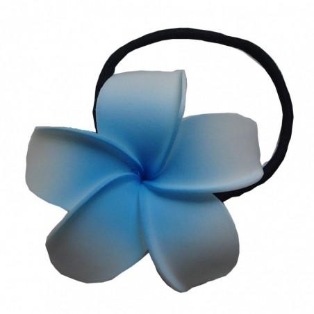 Elastique à cheveux frangipane blanc et bleu