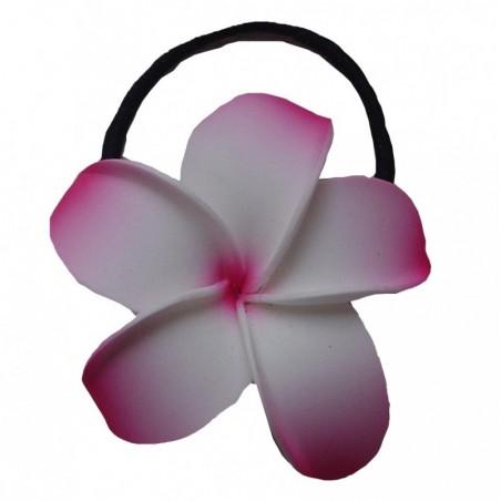 Elastique à cheveux rose et blanc frangipane