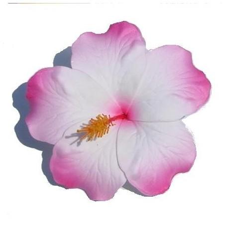 Barrette à cheveux Hibiscus rose et blanc