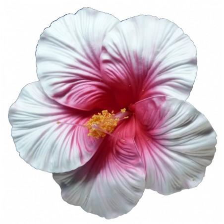 Très grosse barrette à cheveux Hibiscus rose et blanc