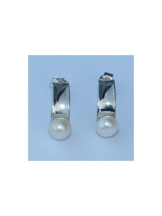 Boucle d oreille argent  perle d'eau douce