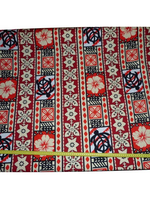 Tissu coton Rouge Moderne Tapa