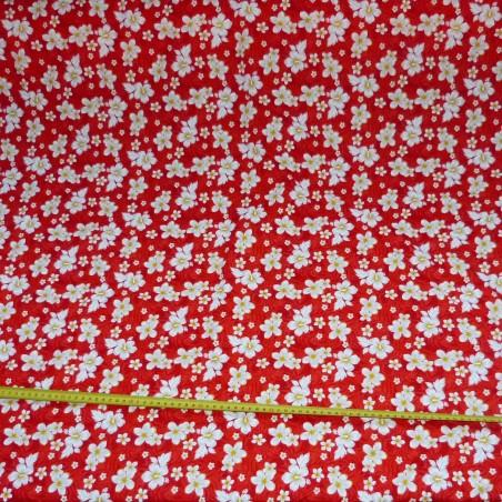 Tissu petites fleurs rouges Bouton d'or
