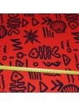 Tissu rouge imprimé tribal fish