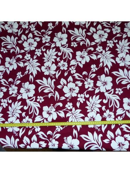 Tissu Tahitien Hibiscus Bordeaux