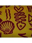 Tissu Jaune poisson et coquillages bordeaux