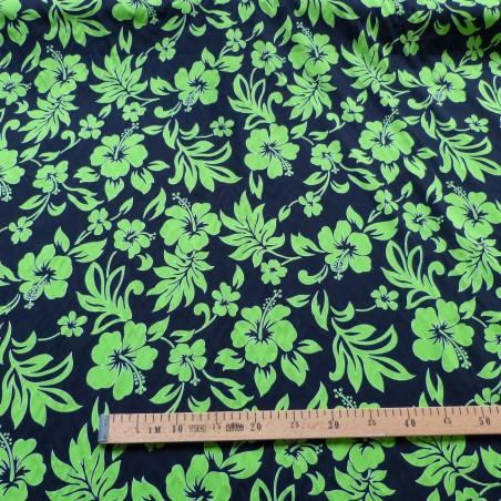 Tissu hibiscus noir et vert best seller tahiti