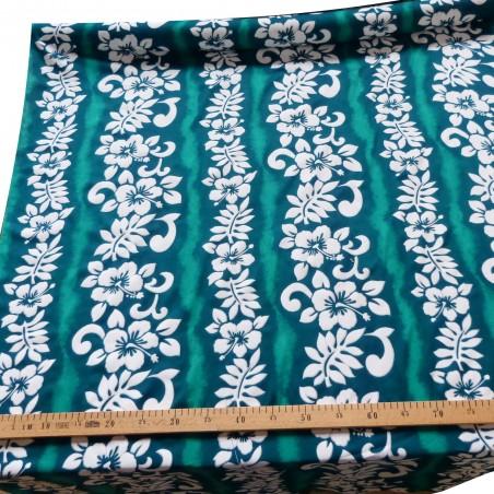 Tissu viscose vert hibiscus line