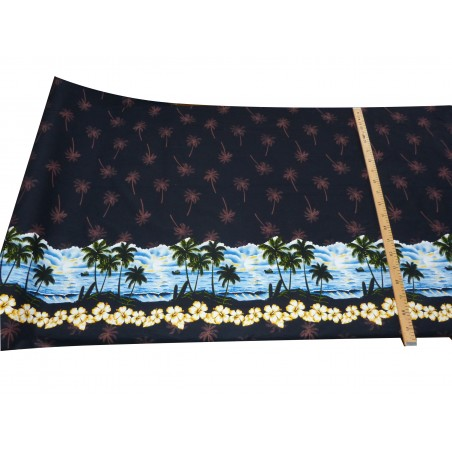 Tissu coton Paysage marin PALM BEACH