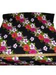 Tissu hawaïen noir frise fleurs hibiscus