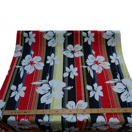 Tissu polynésien longitudinal Noir et Rouge