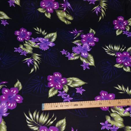 Tissu fleuri fond noir fleurs Violet Bouquet