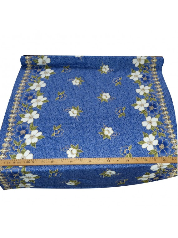 Tissu hindi hibiscus bleu