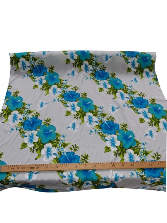 Tissu Hawaïen blanc frise fleurie turquoise