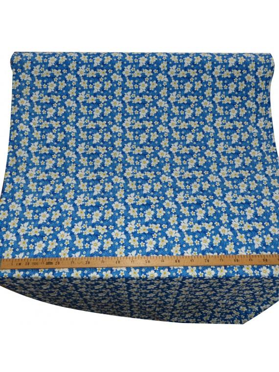 coupon de 5 mètres de TISSU PETITES FLEURS bleu BOUTON D'OR