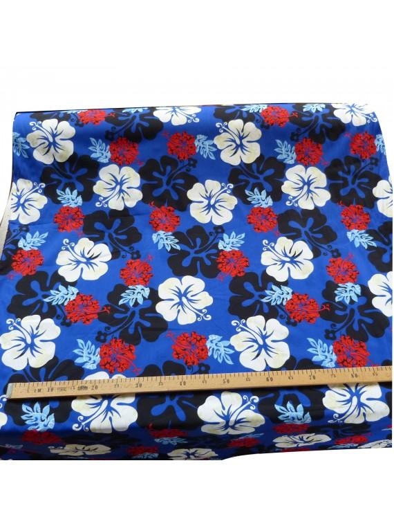 Tissu trame hibiscus bleu
