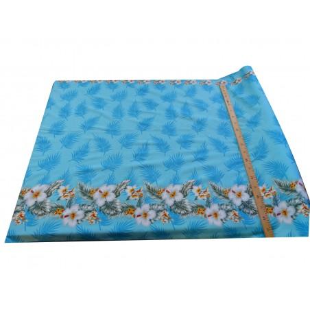Tissu turquoise coton frise hibiscus