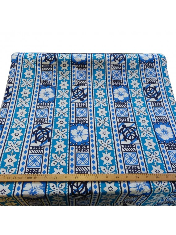 Tissu coton turquoise moderne tapa