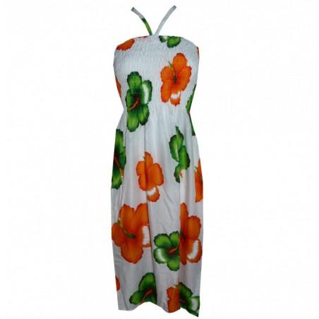 Robe blanche hibiscus vert et orange
