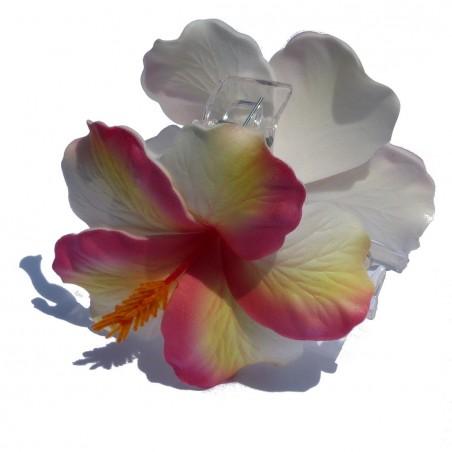 Pinces à cheveux croco hibiscus marbré rose
