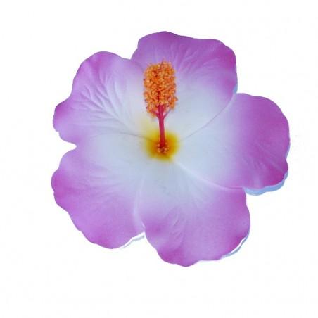 Barrette à cheveux Hibiscus violet et blanc