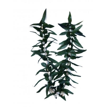 Colliers feuilles et coquillages vert