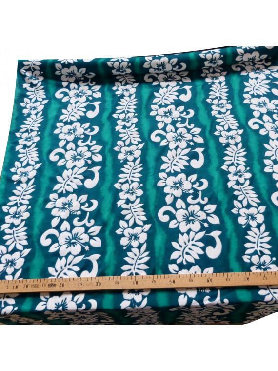 Coupon de tissu de 2 m de Tissu viscose vert hibiscus line