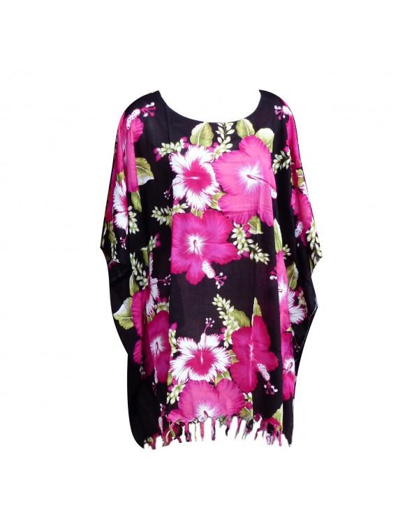 Tunique Noir bouquet d'hibiscus