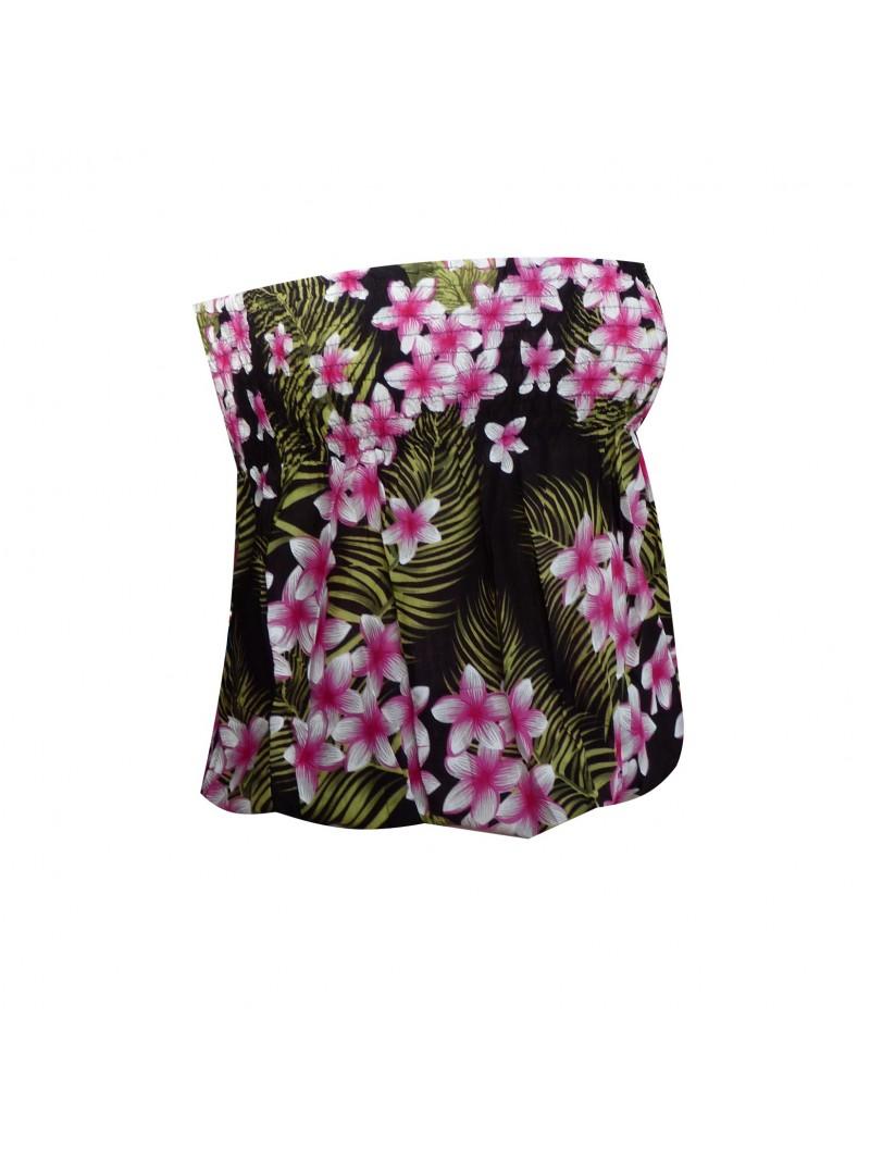 Bustier froncé noir frise hibiscus monochrome